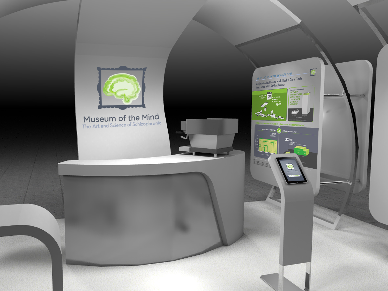 3D render of booth interior